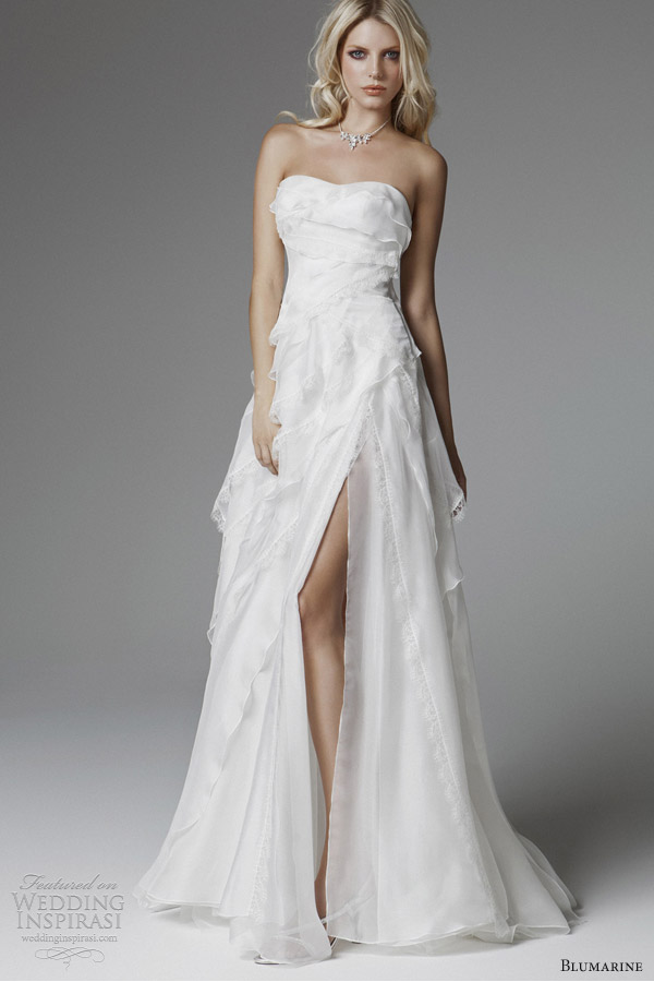 strapless white wedding dress with high slit