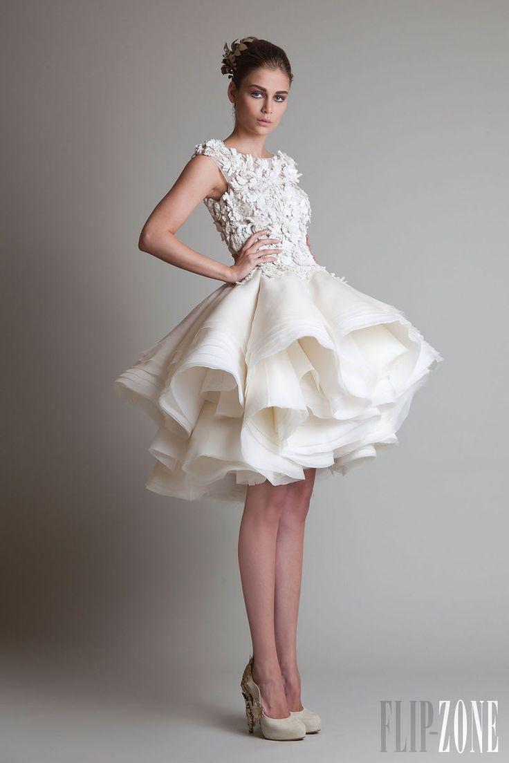 beautiful short wedding dress with unique skirt