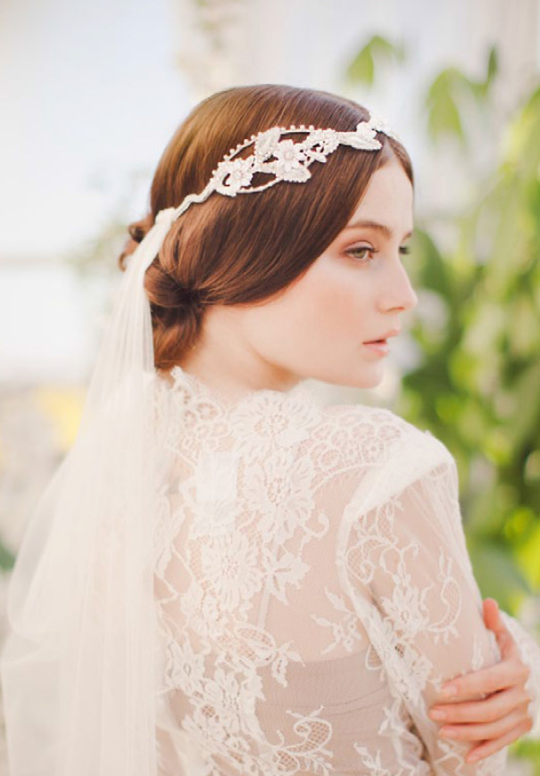 long lace wedding veil and unique headpiece