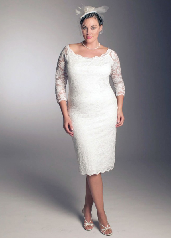 Plus Size Short Lace Wedding Dress Under 100 With 3 Per 4 Sleeves