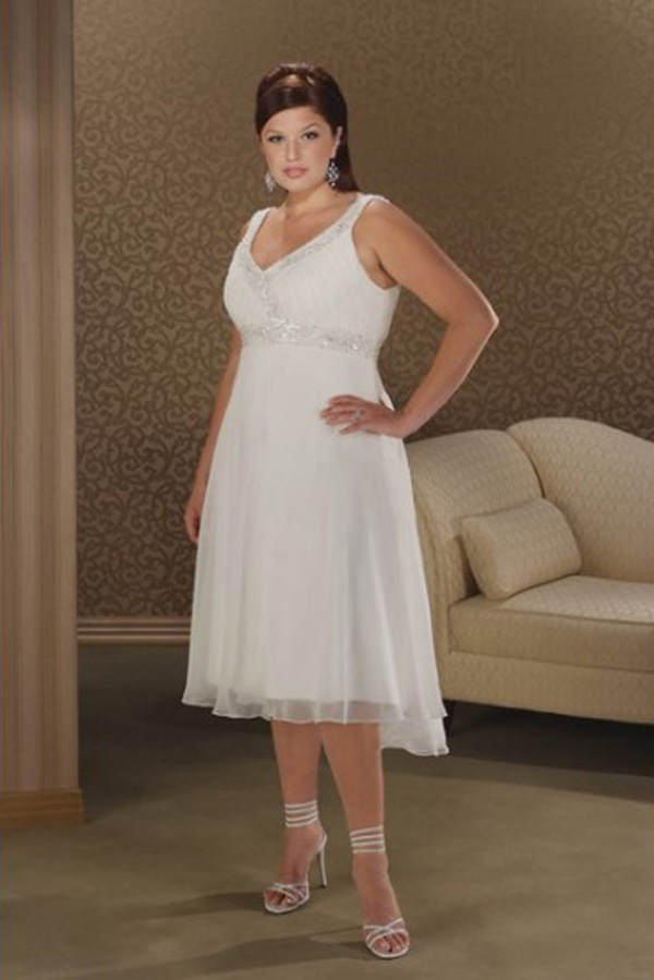 plus size short white wedding dress with straps