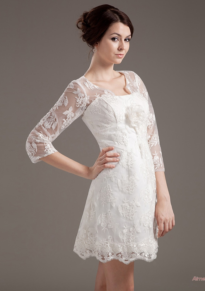 gorgeous short wedding dresses with 3 4 sleeves sang maestro With 3 4 sleeve short wedding dress