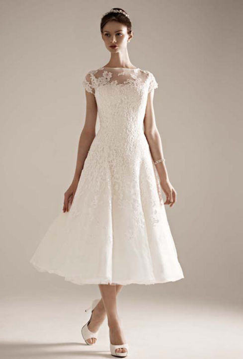 short classical wedding dress with short sleeves