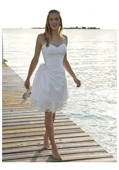 short lace white beach wedding dress