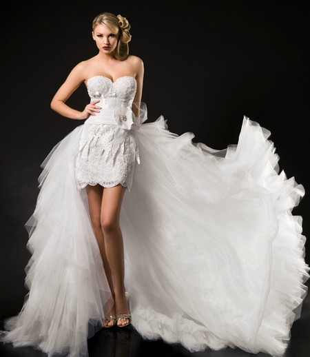 chic collection of short wedding dresses with long trains