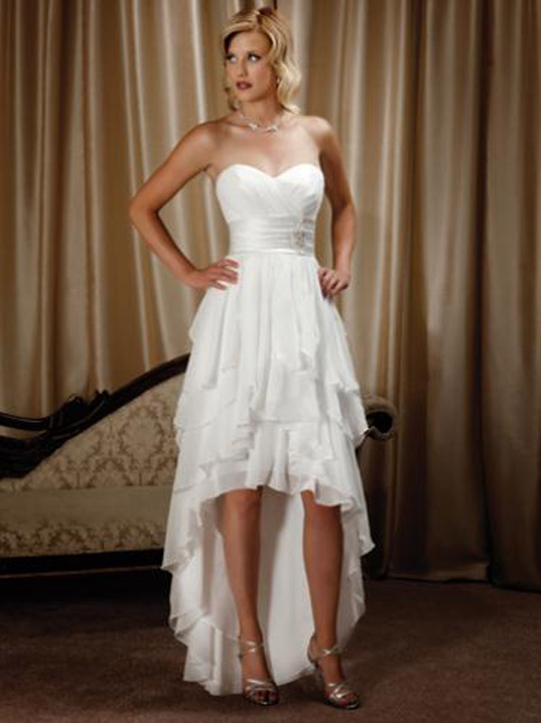 short sweetheart white wedding dress with long train