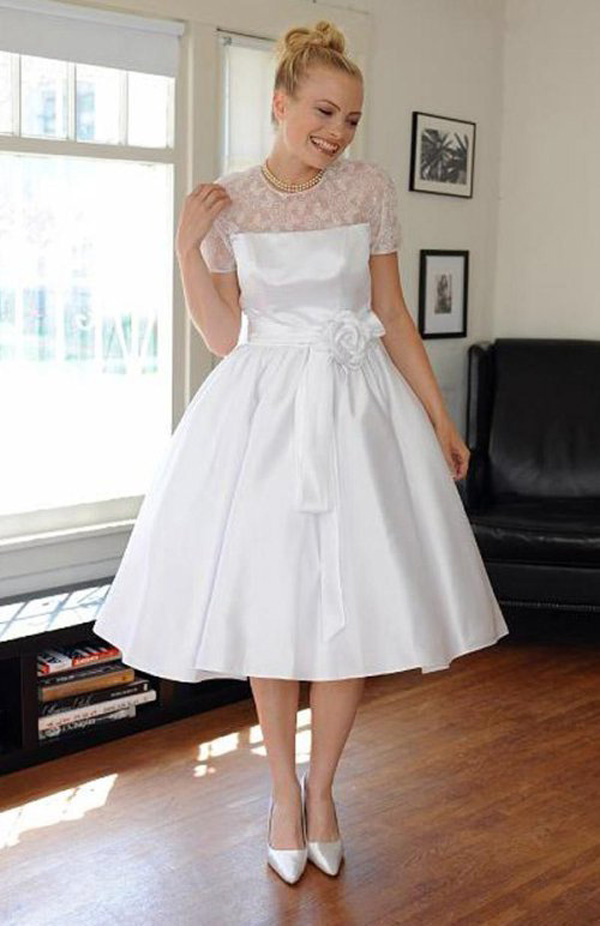 short vintage wedding dress with short lace sleeves