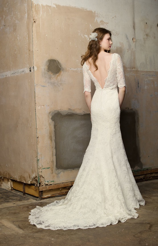 fall lace sleeved wedding dress with open back
