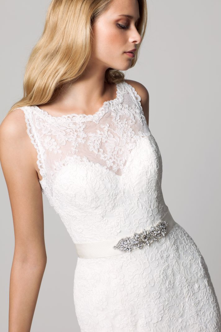 fall lace sleeveless wedding dress with illusion neckline