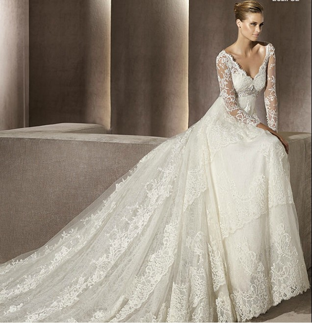 Wedding Dress Images Lace : Fall lace wedding dress with sleeves sangmaestro