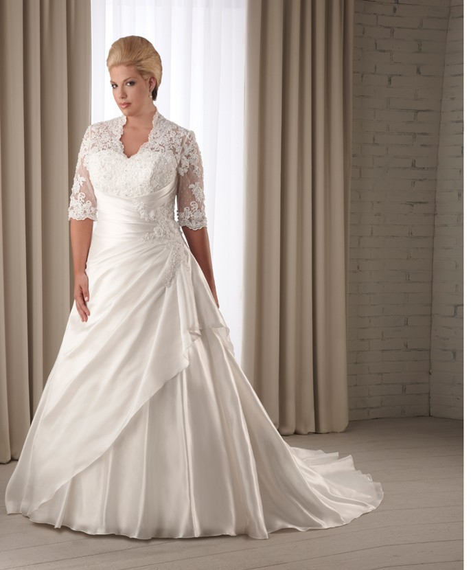 Elegant fall plus size wedding dresses with sleeves for for Wedding dresses for larger sizes