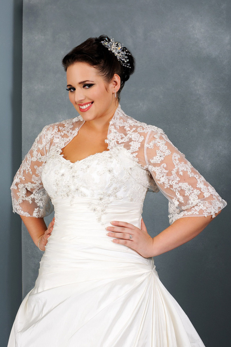 Elegant fall plus size wedding dresses with sleeves for for Plus size wedding dresses with color and sleeves