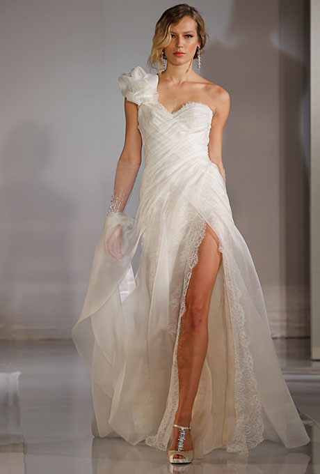 fall wedding dress with one shoulder