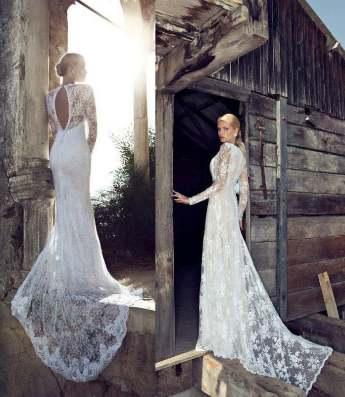 Long Fitted Wedding Dress With Long Lace Sleeves Sang Maestro