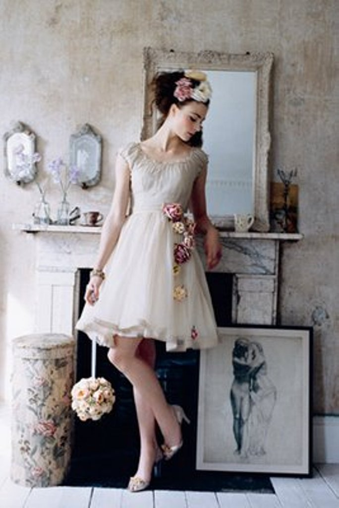 unique vintage floral short wedding dress with cap sleeves