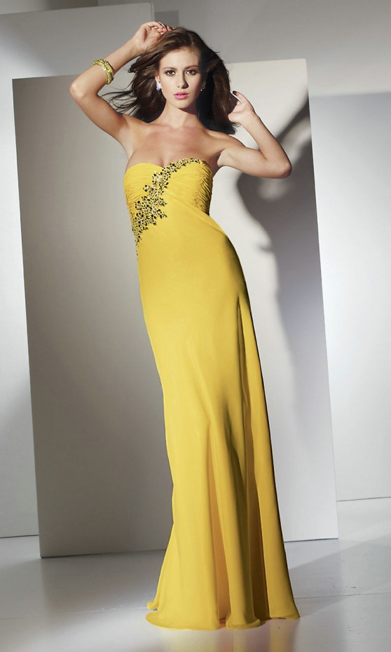 Elegant collection of long wedding guest dresses sang for Yellow dresses for weddings