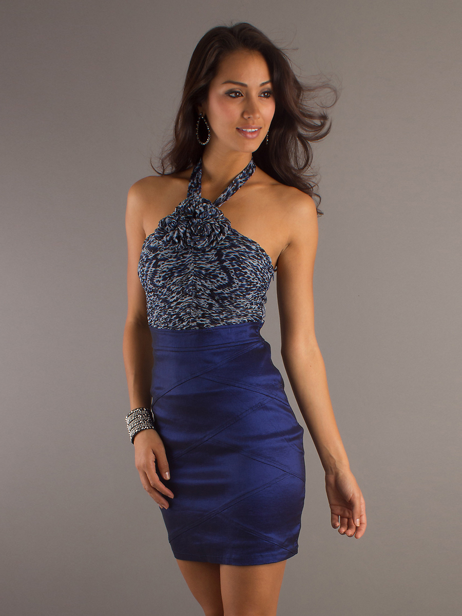 royal blue satin short wedding guest dress