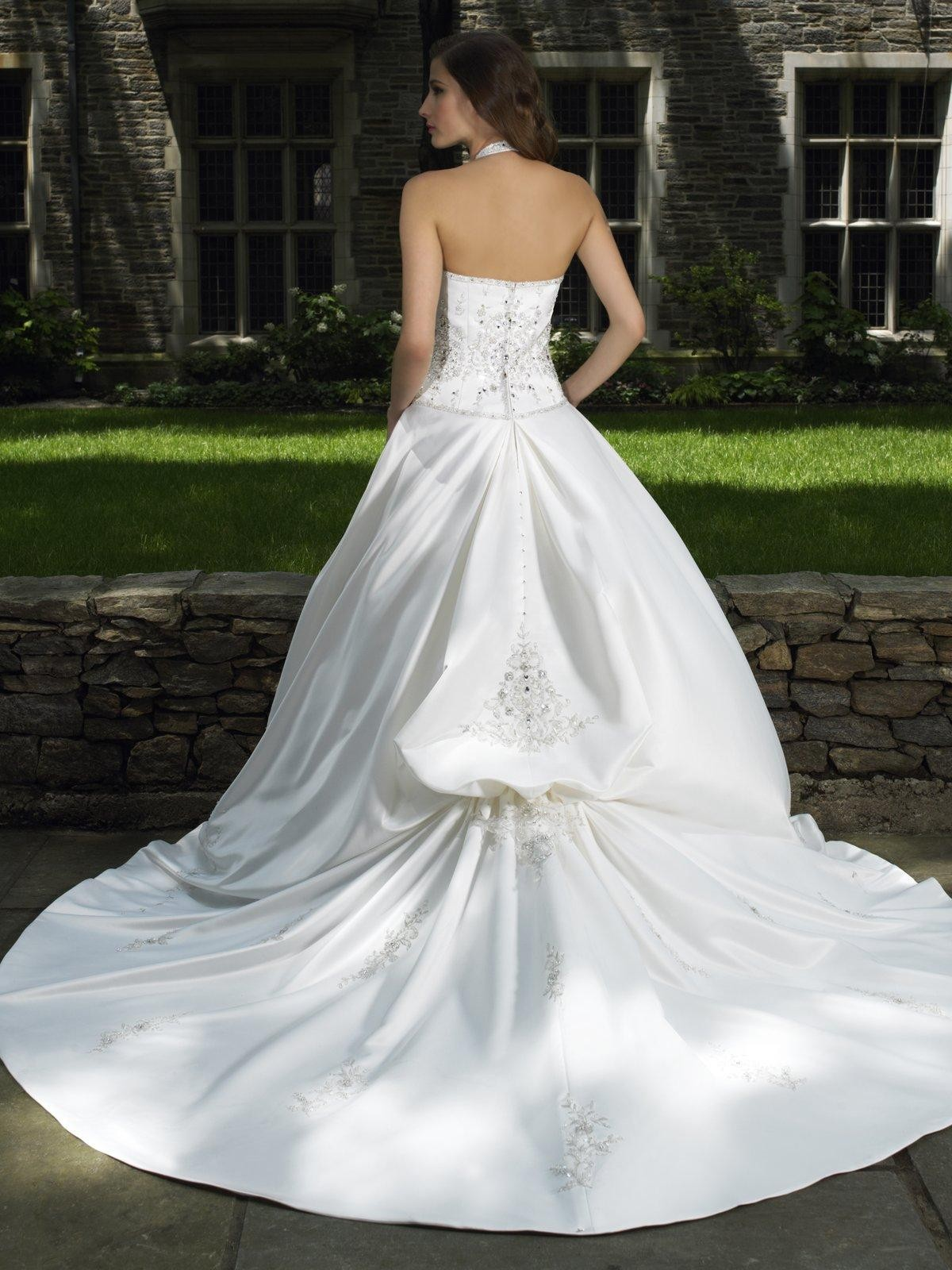 Italian satin ball gown sweetheart wedding dress with for Sweetheart halter wedding dress