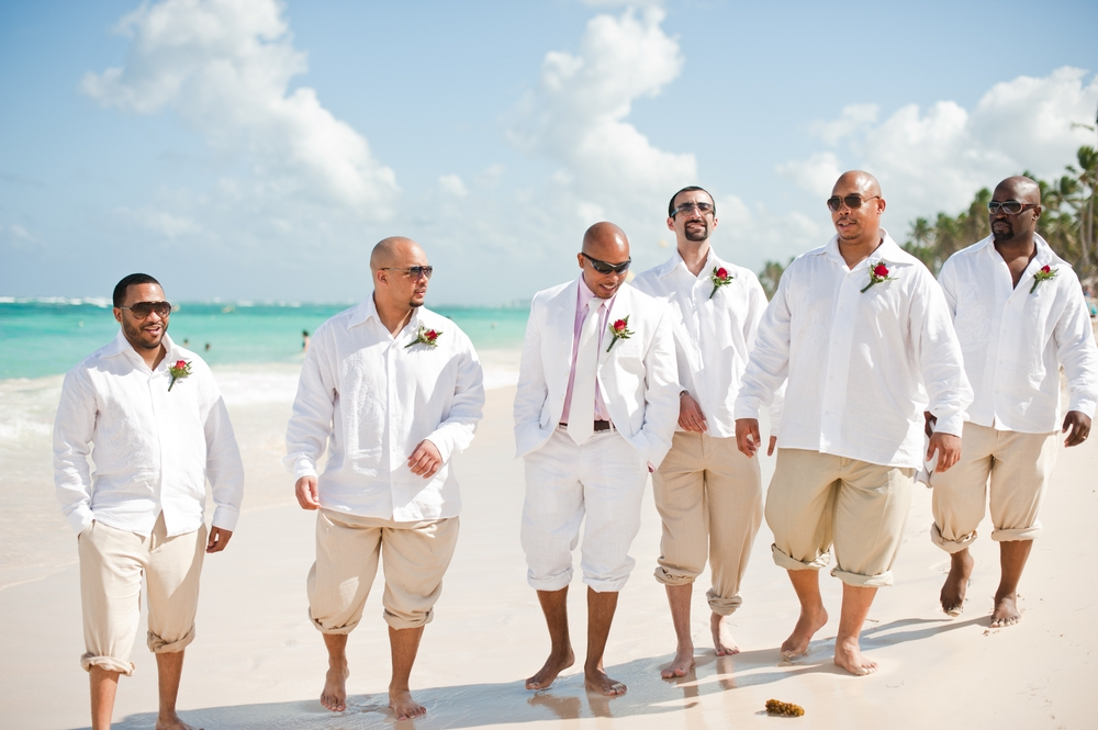 beach white long wedding attires for men