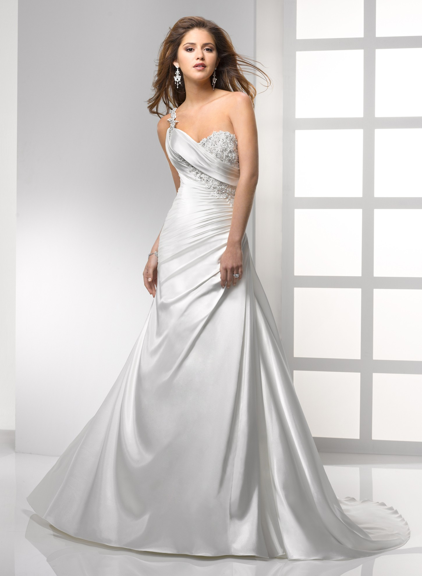 Satin a line sweetheart neckline wedding dress with for A line wedding dresses sweetheart neckline