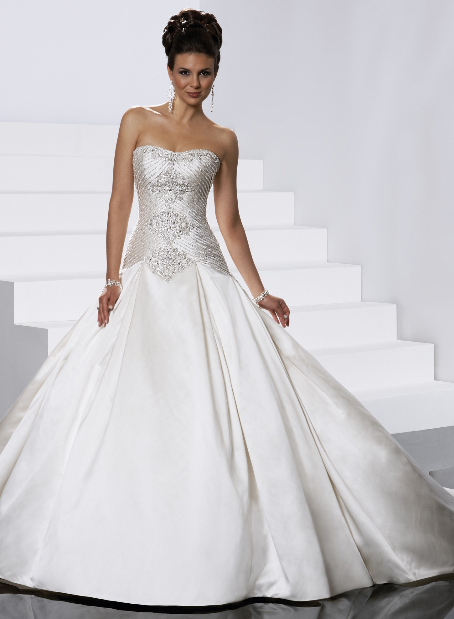 Graceful Satin Ball Gown Wedding Dresses