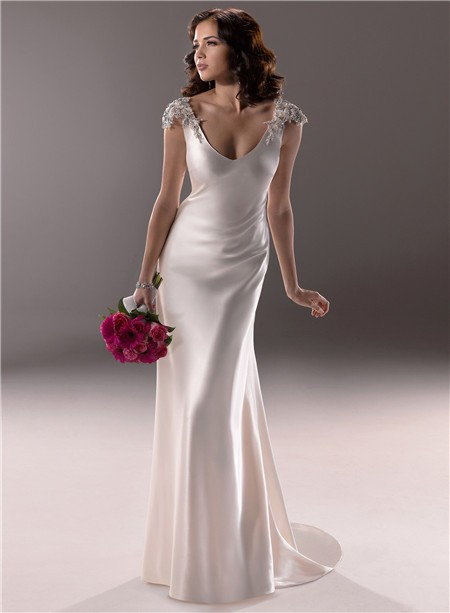 Gorgeous and beautiful satin sheath wedding dresses sang for Satin silk wedding dresses