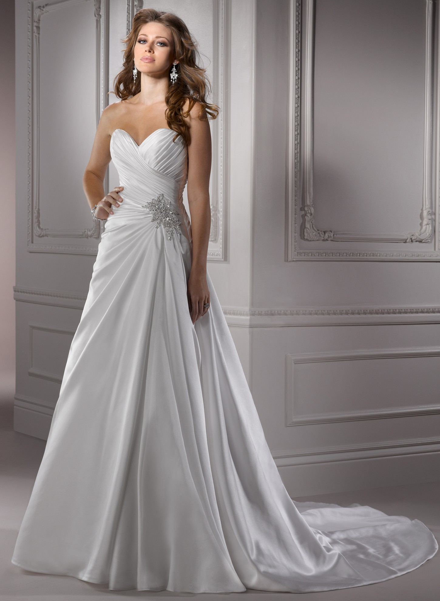 Satin sweetheart wedding dress sangmaestro for A line wedding dresses sweetheart neckline