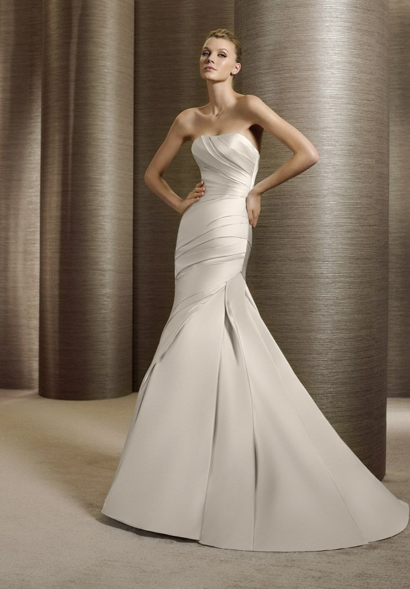 satin wedding dress with mermaid silhouette