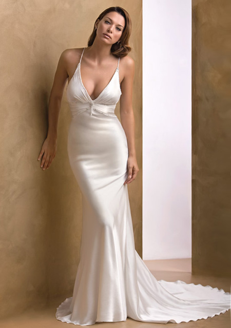 Vintage mermaid satin wedding dress with deep v neckline for Satin silk wedding dresses
