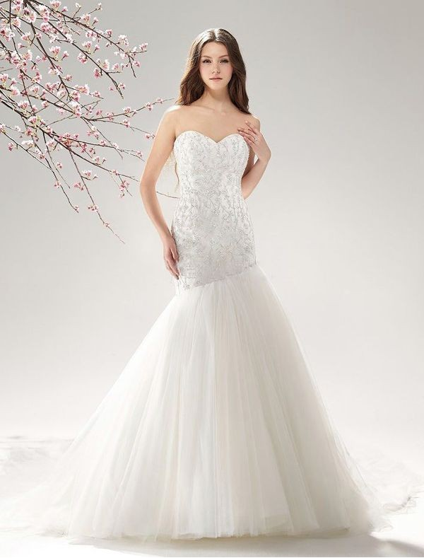 Wonderful beaded mermaid wedding dresses sang maestro for Sweetheart halter wedding dress