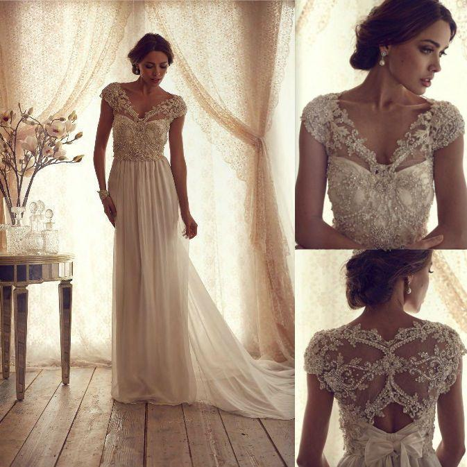 beaded v-neckline wedding dress with cap sleeves