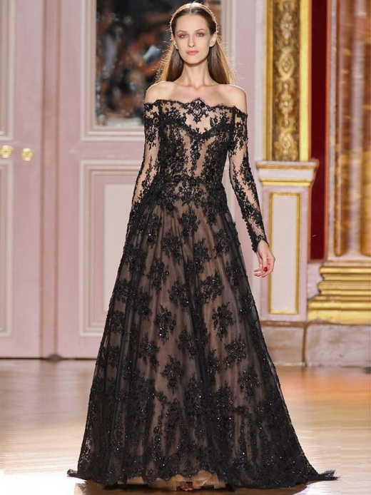 black lace illusion wedding dress with long sleeves