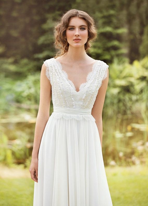 White Hippie Wedding Dresses boho v neck wedding dress