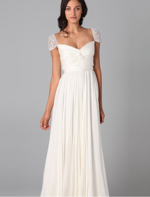 chiffon curved neckline wedding dress with beaded cap sleeves