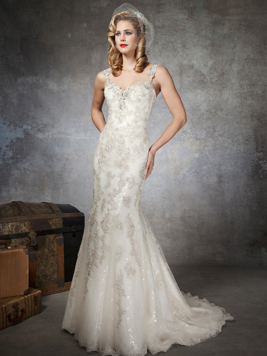fully beaded lace wedding dress by justin alexander sang
