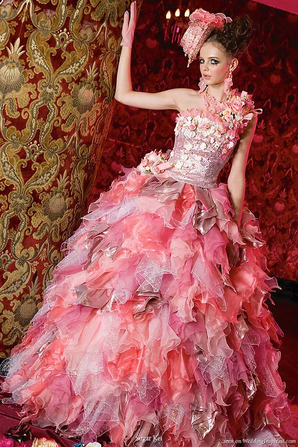 unique pink ball gown wedding dress