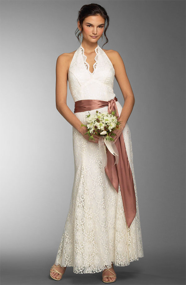 casual summer ankle length wedding dress with sash