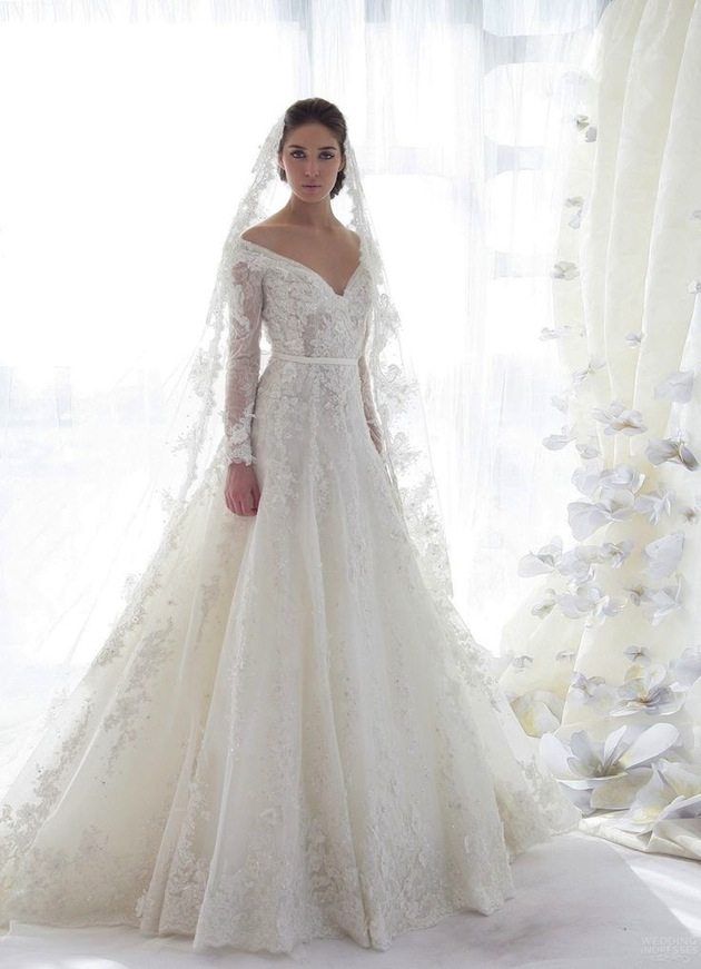 long veil lace v-neck wedding dress with a-line silhouette