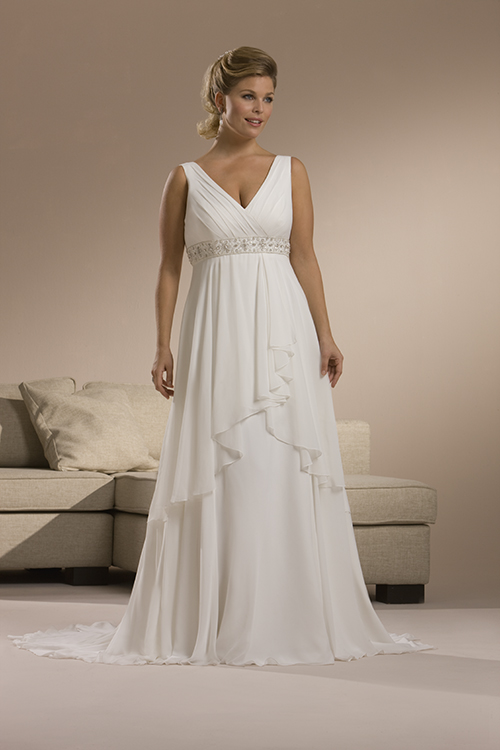 Plus size summer chiffon wedding dress with sweep train for Wedding dress big size