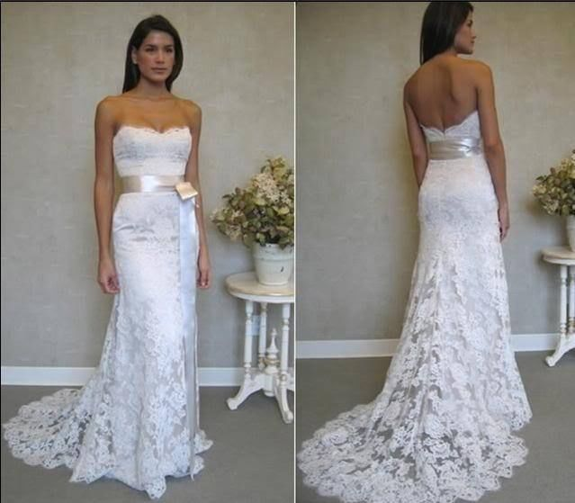 sexy strapless lace summer wedding dress with sash sang
