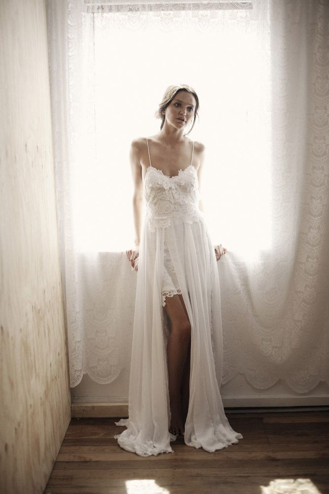 White boho beach wedding dress with spaghetti straps for Bohemian white wedding dress