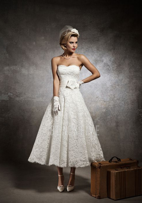Best ankle length wedding dresses you must have sang maestro for Lace ankle length wedding dress