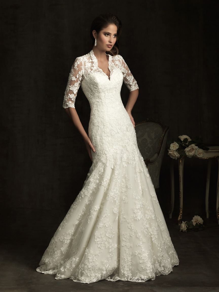 best vintage lace wedding dress with 3/4 sleeves