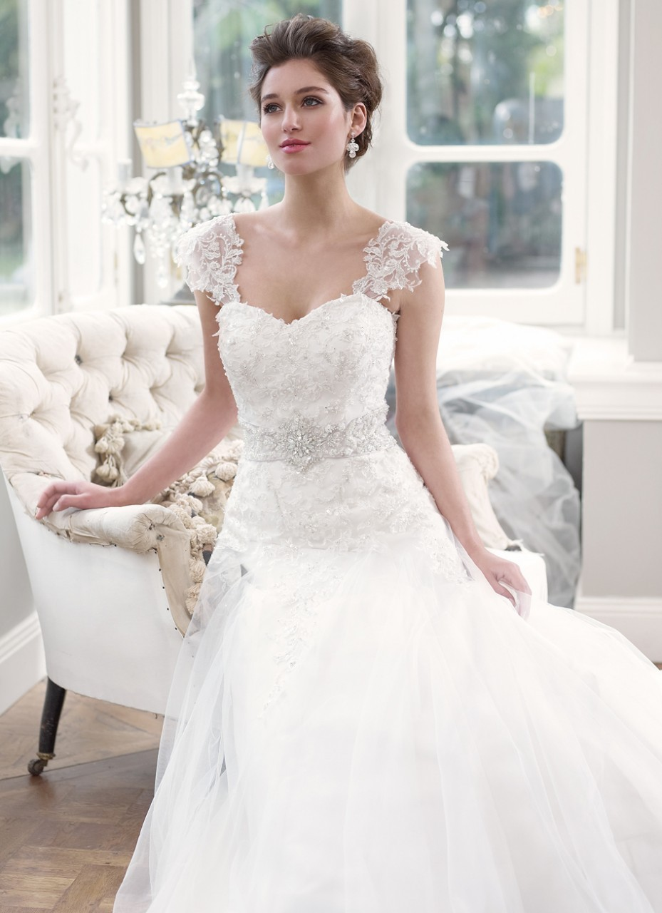 elegant wedding dress with lace sleeves