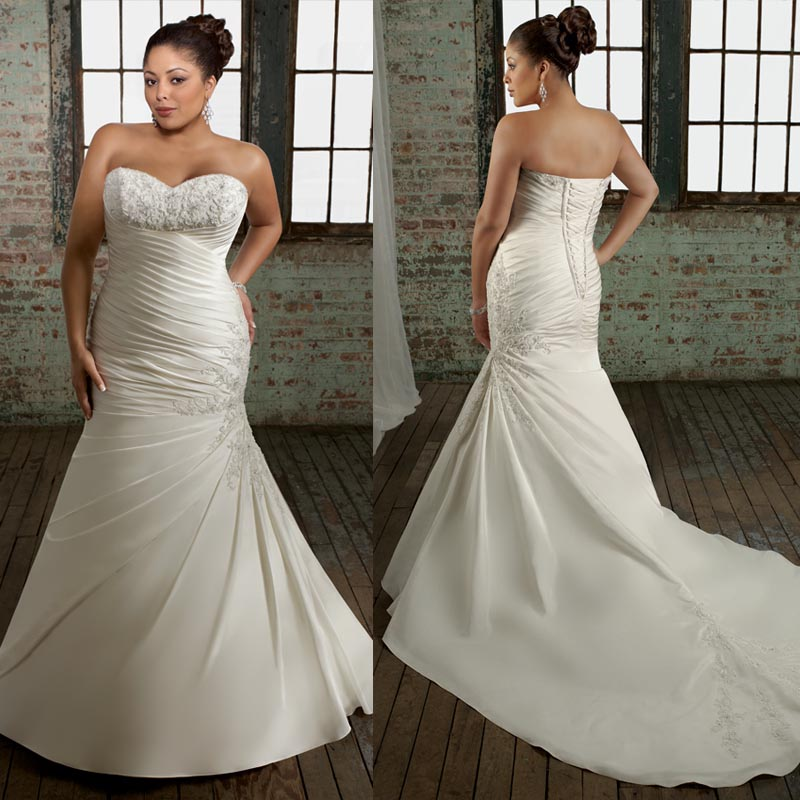 Plus size strapless wedding dress mermaid style sang maestro for Best wedding dress styles for plus size brides