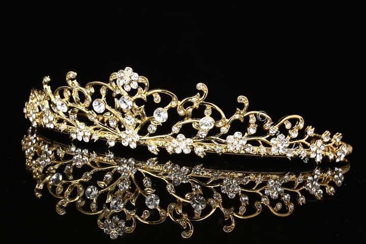 floral gold wedding tiara with crystal and rhinestone