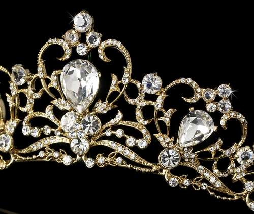 gold rhinestones wedding tiara