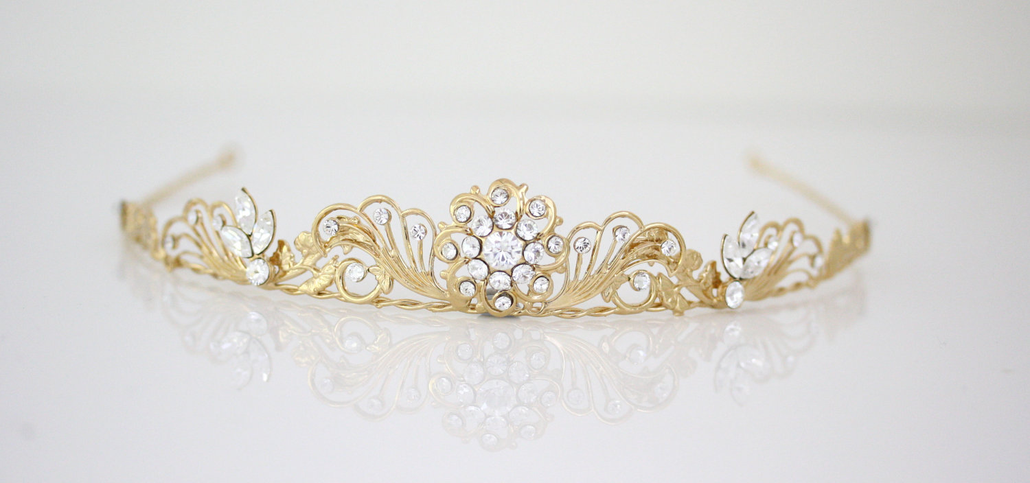 gold wedding tiara with rhinestone