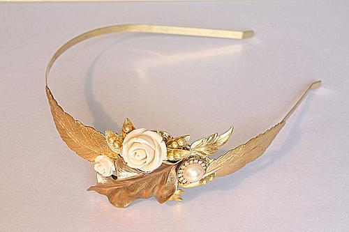 greek goddess inspired gold wedding tiara