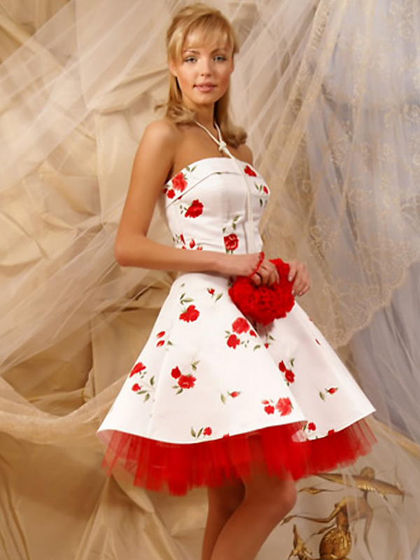 short a-line red and white wedding dress with strapless neckline